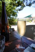 Glass of sparkling wine at The Laughin' Barrel in the Swan Valley